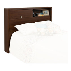 Prepac - Prepac Series 9 Designer Full / Queen Headboard in Medium Brown Walnut - Prepac - Headboards - LHFX05021 - The Medium Brown Walnut Series 9 Designer Headboard offers a unique and versatile solution to bedroom storage and style. Flip-up doors reveal 2 generously sized storage compartments. Keep books and other personal items safely behind the doors or flip up the doors up to display your decorative items. The inset geometric pulls are recessed so that you wont snag hair or clothes.