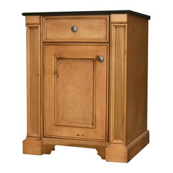 British Traditions - 1 Door Country Vanity w London Moldings (Antique White) - Finish: Antique White. Each finish is hand painted and actual finish color may differ from those show for this product. Country vanity. 1 Door. London moldings. Can hinge door on opposite side. 25 in. W x 21.75 in. D x 34.75 in. H (133 lbs.)The London Vanity has the country elegance of our popular London libraries and entertainment centers. It has one door, which can be hinged on either side, under a false drawer.