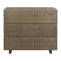 Safavieh - Mitch Cabinet - Evoking mid-century modern style for the contemporary eye, the Mitch cabinet boasts a distinctive look with inverted carved lines for a graphic patchwork look. The trend to rustic chic furnishings is exemplified in a dark brown roughhewn finish.