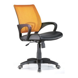 Lumisource - Officer Office Chair Tangerine - Work in comfort with this contemporary office chair. The Officer chair features a leatherette seat and colorful mesh back, lumbar support, 360 degree swivel, caster wheels for mobility, and adjustable tilt and tension, and armrests. Seat adjusts from 18 to 22 inches. 23 in. W x 19 in. D x 40 in. H