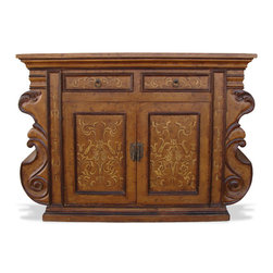 Koenig Collection - Old World Small Buffet Manchester, Fresco Brown Distressed - Manchester Small Buffet, Fresco Brown Distressed with Scrolls
