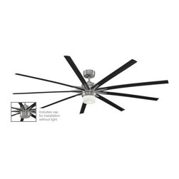 Fanimation - Fanimation Odyn Ceiling Fan in Brushed Nickel - Fanimation Odyn Model FA-FPD8148BN in Brushed Nickel with ABS Composite Black Finished Blades.
