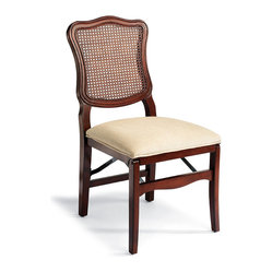 Set of Two Cane Back Folding Chairs