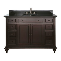 """Avanity - MERLOT 48"""" Vanity Only (Espresso) - MERLOT 48"""" Vanity Only (Espresso); Vanity only in Espresso finish; 2 doors; 6 drawers; Birch solid wood and veneer; Antique brass finished hardware; 2 soft-close doors; 6 soft-close drawers; Adjustable height levelers; Top, sink and faucet not included.; Dimensions: 48W x 21D x 34H inches"""