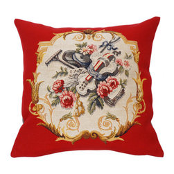 "Jules Pansu - French Tapestry Cotton Jardinier Pillow - Includes a decorative pillow insert filled with 95% white goose feathers/5% white goose down in 210 thread count cotton twill. Features: -Collection: French Tapestry. -Color: Red Multi. -Material: Cotton. -210 Thread count. -Insert filled with 95% white goose feathers/5% white goose down. -Dry clean only. -Made in the USA. Dimensions: -18"" H x 18"" W, 2 lbs."