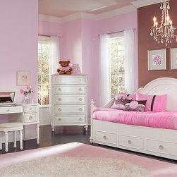 The Grace II Kids Bedroom Collection - Flower Child. Traditional lines and decorative flourishes adorn our Grace II collection, a stylish, dreamy bedroom set for girls. A silver-tipped flower-and-bow motif accents the various pieces, while sweetheart details and pretty shaping bring added femininity to the classic look. Contoured ring-pull hardware, an antique white finish and pull-out trundle option complete the girlish yet regal design.