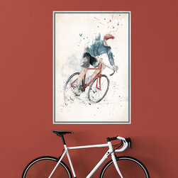 My Wonderful Walls - Bicycle Wall Art Decal - I Want to Ride My Bicycle by Balázs Solti, X-Large - - Product: faceless boy on bicycle wall sticker decal