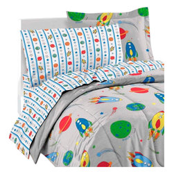 CHF Industries Inc - Space Rocket Ship Comforter Sheets Sham Twin Bedding - FEATURES: