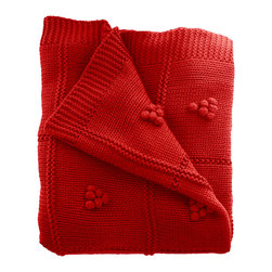 Woven Workz - Sydney Red Knit Throw - Take this stylish throw to the bed, couch, porch - anywhere you want to kick back and relax. Its irresistable texture will add definition to any room. A beautiful, knit throw with a unique cluster detail.