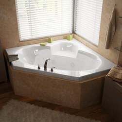 Venzi - Venzi Ambra 60 x 60 Corner Air & Whirlpool Jetted Bathtub - The Ambra collection features a classic, corner tub design with an oval opening that will fit perfectly into any bathroom design setting. Molded seat provides comfort and safety.