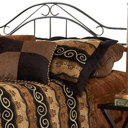 Hillsdale Furniture - Hillsdale Winsloh Panel Headboard - Full/Queen - A simple, yet already classic design that has become on the of the industry's best sellers. A lodge or cottage theme marries round medium oak finish hardwood post with a textured black metal panel.