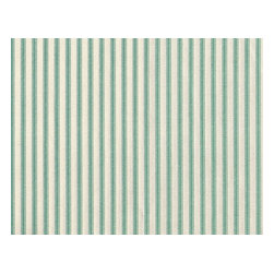 "Close to Custom Linens - 72"" Tablecloth Round Ticking Stripe with Gingham Topper Pool Blue-Green - A charming traditional ticking stripe in pool blue-green on a cream background. Includes a 72"" round cotton tablecloth."