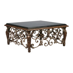 Ambella Home - Vinery Square Cocktail Table - Cocktail hour will never be the same! With its ornate floral decorations wrought in iron, this elegant square table is a stunning centerpiece for any formal room. Topping it all off is a black fossil stone platform to hold all of your favorite books, knickknacks and beverages.