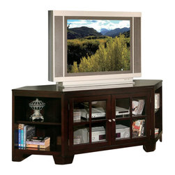 William's Imports - Hampton 62 in. Corner TV Stand in Espresso Finish - Open bookshelves at the sides. Two glass doors. Constructed of P1 board. Shelves: 15 in. L x 16 in. D x 24 in. H. 62 in. W x 20 in. D x 25 in. H