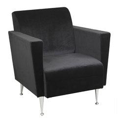 Adesso - Adesso WK4221-01 Memphis Velvet Club Chair-Blk - Adesso WK4221-01 Memphis Velvet Club Chair-Blk