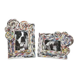 Anise Recycled Magazine Photo Frames - Set of 2 - This set of two photo frames feature woven recycled magazines to create interesting frames for your favorite 4x6 and 5x7 photos!