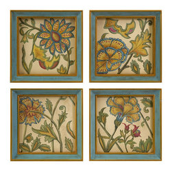 iMax - iMax Elberta Handpainted Wall Art - Set of 4 X-4-99274 - The Elberta wall art is a set of four lovely interpretive floral still life hand paintings framed in simple, elegant blue frames.