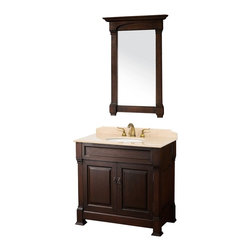 "Wyndham Collection - Wyndham Collection 36"" Andover Single Sink Bathroom Vanity Set in Dark Cherry - A new edition to the Wyndham Collection, the beautiful Andover bathroom vanity series represents an updated take on traditional styling. The Andover is a keystone piece, with strong, classic lines and an attention to detail. The vanity and solid marble countertop are hand carved and stained. Available in Black and Dark Cherry finishes to match any decor. Available in a range of single or double vanity sizes to fit any bathroom."