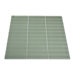 "Loft Seafoam Polished Glass Tiles - LOFTSEAFOAM POLISHED1"" X 4"" GLASS TILES Make your back splash the kitchen's, bathroom, pool, or decorated room focal point by using this striking stacked pattern tile. Add some style to your decor! This should give it a more distinct look. These glass tiles will add a durable lasting beauty and value to your bathroom, kitchen, fireplace or pool installation. The color is painted on the back of the tile so it will not scratch or chip off. Chip Size: 1"" x 4"" Color: Seafoam Green Material: Glass Finish: Polished Sold by the Sheet - each sheet measures 12"" x 12"" (1 sq.ft) Thickness: 8mm - Glass Tiles -"