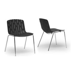 Baxton Studio - Baxton Studio Florissa Black Plastic Modern Dining Chair (Set of 2) - The markedly boisterous temperament of the Florissa Contemporary Dining Chair makes this a joy to add to any room. Though arguably best suited as a dining room chair, this stackable chair can easily make its way into any space that needs quick, easy seating: just stack into a corner or closet when not in use. Sold as a set of two, the Florissa Designer Dining Chair is made with a hard black molded plastic seat and a shiny chrome-plated steel base finished with protective non-marking feet, a boon for sensitive flooring. Packaged while fully assembled in a cardboard carton, the Florissa Modern Dining Room Chair is easy to clean: just wipe with a damp cloth. Also available is the Florissa Dining Chair in red as well as the similar Ximena Dining Chair in orange or white (sold separately).