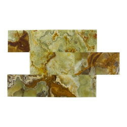 "Marbleville - Multi Green Onyx 3"" x 6"" Polished Brick Pattern  Marble Mosaic Tile - Premium Grade Multi Green Onyx 3"" x 6"" Polished Marble Mosaic  is a splendid Tile to add to your decor. Its aesthetically pleasing look can add great value to the any ambience. This Mosaic Tile is constructed from durable, selected natural stone Marble material. The tile is manufactured to a high standard, each tile is hand selected to ensure quality. It is perfect for any interior/exterior projects such as kitchen backsplash, bathroom flooring, shower surround, countertop, dining room, entryway, corridor, balcony, spa, pool, fountain, etc."