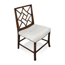 """Sarreid Ltd - Pair of Lady Zetland's Sidechairs - The classic Lady Zetland's Dining Side chairs are covered Cream Silk Fabric with Nailhead Trim, Solid Walnut Old World Finish and Cream Silk Seat 19"""" wide x 21"""" deep x 36"""" high, seat 19"""" high Sold as a set of 2. (SAR)"""