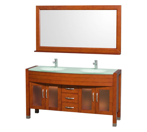 Wyndham - Daytona Double Vanity 60in. in Cherry w/ Green Glass Top & Green Sinks - The Daytona 60 in.  Double Bathroom Vanity Set - a modern classic with elegant, contemporary lines. This beautiful centerpiece, made in solid, eco-friendly zero emissions wood, comes complete with mirror and choice of counter for any decor. From fully extending drawer glides and soft-close doors to the 3/4 in.  glass or marble counter, quality comes first, like all Wyndham Collection products. Doors are made with fully framed glass inserts, and back paneling is standard. Available in gorgeous contemporary Cherry or rich, warm Espresso (a true Espresso that's not almost black to cover inferior wood imperfections). Transform your bathroom into a talking point with this Wyndham Collection original design, only available in limited numbers. All counters are pre-drilled for single-hole faucets, but stone counters may have additional holes drilled on-site.
