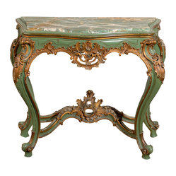 Louis XV Style Console - Looking for a wow piece for your foyer? This exquisite French Louis XV style console from 1900 will do more than nicely. The marble top alone is a work of art, but you'll be awed by the whole piece, which has been gilded, painted and carved to perfection.