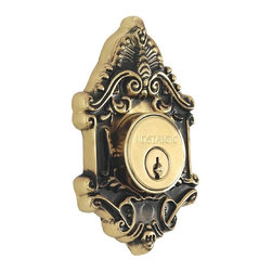 Nostalgic Warehouse - Nostalgic Victorian Double Cylinder Deadbolt Keyed Differently in Antique Brass - The Victorian Double Cylinder Deadbolt in antique brass with its distinct curvilinear embellishment, is unmistakably old world vogue. Keyed differently. Made of solid (not plated) forged brass for durability and beauty.