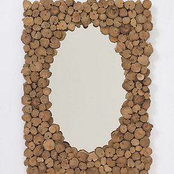 Sliced Teak Mirror - I adore the teak around this mirror. It gives a wonderful and natural texture to any wall.