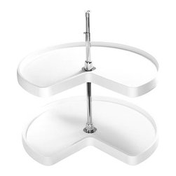 "Rev-A-Shelf - Rev-A-Shelf Kidney Lazy Susan 2-Shelf Set, White - This 32"" Rotating Corner Shelf Lazy Susan features polymer bushings and self-lubricating bearings that will provide years of smooth, quiet operation. The patented detent system positions the shelves for easier access. Comes complete with an attractive chrome plated telescoping center shaft. A beautiful Lazy Susan not only looks great, it also provides great storage and easy access to pots, pans, food, spices, and more. If you are looking to optimize kitchen efficiency, this Rev-A-Shelf 6472-32-11-52 Kidney Lazy Susan Set is a must. Size Specifications: 32"" W x 32"" D. Please make sure you have a minimum cabinet opening of at least 26"" H to ensure a proper fit."