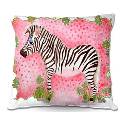 DiaNoche Designs - Pillow Linen - Marley Ungaros Zebra Raspberry - Add a little texture and style to your decor with our Woven Linen throw pillows. The material has a smooth boxy weave and each pillow is machine loomed, then printed and sewn in the USA.  100% smooth poly with cushy supportive pillow insert with a hidden zip closure. Dye Sublimation printing adheres the ink to the material for long life and durability. Double Sided Print, machine wash upon arrival for maximum softness. Product may vary slightly from image.