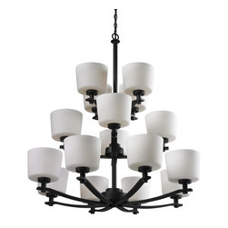 Sixteen Light Oil Rubbed Bronze Matte Opal Glass Up Chandelier - This Sixteen Light Up Chandelier is part of the Arlington Collection and has an Oil Rubbed Bronze Finish and Matte Opal Glass.  It is Dry Rated.
