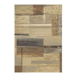 Abacasa - Heathwood Area Rug (91.2 in. L x 63.6 in. W (24 lbs.)) - Choose Size: 91.2 in. L x 63.6 in. W (24 lbs.). Abstract pattern. Transitional style. Rectangular shape. Jute and poly propylene backing. Plush pile. Woven using a unique double pointed technique which provides depth and subtle color variations. Stain and shed resistant. Machine-woven. Made from heavy heat-set olefin. Blue, tan, brown and sage color. Made in Belgium. Pile height: 0.5 in.. Care InstructionsThe Essentials quality perfect for use in even the busiest of homes. Creates a natural source of sound absorption and pulls the overall look of the room together.