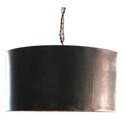 Hand Made - Handcrafted Drum Pendant Light with Aged Zinc or Black Steel Finish - Our handcrafted drum pendant light provides instant sophistication wherever you choose to display it. The black steel compliments interiors both modern and industrial.