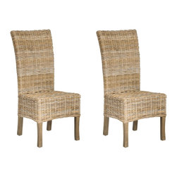 Safavieh - Quaker Side Chair - With a slightly tapered backrest and lovely unfinished rattan, the Quaker side chair is anything but staid. The fusion of classic lines with fresh materials make Quaker a charmer for casual settings from beach side to city chic. Crafted from rattan and renewable mango wood with a grey transparent textured finish on the legs.