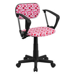 Flash Furniture - Flash Furniture Pink Dot Printed Computer Chair with Arms - BT-D-PK-A-GG - This attractive design printed office chair will liven up your classroom, dorm room, home office or child's bedroom. If you're ready to step out of the ordinary then this computer chair is for you! [BT-D-PK-A-GG]