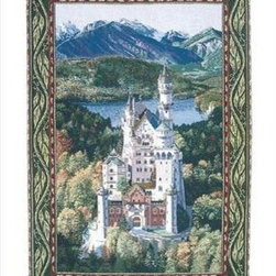 `Neuschwanstein Castle` Woven Tapestry Wall Hanging 56 In. X 80 In. Germany - This woven tapestry wall hanging measures 56 inches wide, 80 inches long, and depicts Neuschwanstein Castle in Bavaria, Germany. It makes a great gift. Note: this tapestry does not come with a hanger bar.