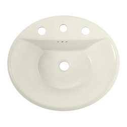 American Standard - Tropic Oval EverClean Countertop Bathroom Sink with 8 inch Faucet Centers - American Standard 0405008EC.222 Tropic Oval EverClean Countertop Bathroom Sink with 8 inch Faucet Centers in Linen.