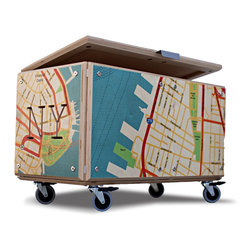 Brooklyn Blanket Chest by MODULE R - This fun and colorful box is great for kids' toys and books and grown-ups' throws, DVDs, or just about anything else. Covered in a colorful map of Brooklyn and set on castors, it can roll into any space and add big style.