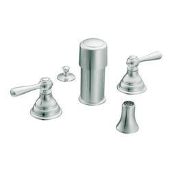 "Moen - Moen T5210 Chrome Bidet Faucet Trim Two Lever Handle 8""-16"" Center, ADA - Moen T5210 is part of the Kingsley Bath collection. Moen T5210 is a new style bathroom, Bidet faucet trim. Moen T5210 has a Chrome finish. Moen T5210 two handle widespread Bidet faucet mounts in a 3-hole 8"" - 16"" Center bidet. Moen T5210 two handle widespread trim requires Moen's 9200 MPact Bidet Rough-in valve to make this faucet complete. Moen T5210 is part of the Kingsley bath collection with its traditional style combining classic antique look, with modern luxury. This collection delivers the best of both worlds. Moen T5210 is not recommended for non-rim flush fixtures. Moen T5210 two lever handle provides ease of operation. Chrome is a proven finish from Moen and provides style and durability. Moen T5210 metal lever handle meets all requirements ofADA ICC/ANSI A117.1 and ASME A112.18.1/CSA B125.1, NSF 61/9 and proposition 6"". Water Sense Certified. Lifetime limited Warranty."