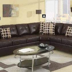 Poundex Furniture – U-Shaped Modular Leather Sectional Sofa - F7243/F7241/F7244 - Set Includes 2-Seater, Cuddle Wedge