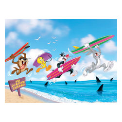 Oriental Furniture - Bugs, Taz, Sylvester, and Tweety Surfing Wall Art - Surf's up for the Looney Tunes crew! The silly characters are in for a shock in this limited edition canvas wall art print. This authentic graphic print is professionally reproduced onto artist quality canvas and stretched over a sturdy mitered wood frame. Hang this fun, original print right out of the box onto your playroom or living room wall.