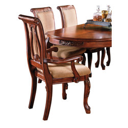 """Steve Silver Furniture - Steve Silver Harmony Arm Chair in Brown Poly-Cotton (Set of 2) - Intricate Georgian-style carvings give the Harmony dining collection an antique feel, adding warmth and formality to any dining area. The harp back arm chair has a Cherry finish, an upholstered box seat, and carvings decorating the back and the legs. With wooden armrests, this chair can take a special place at the head of the Harmony table. The chair measures 25"""" x 27"""" x 41""""."""