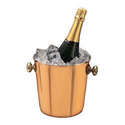 Old Dutch International - Decor Wine Cooler - Copper plated with brass accents. Made from steel. 9 in. L x 5.75 in. W x 7.5 in. H (2 lbs.)