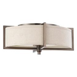Nuvo Lighting - Nuvo Lighting 60-4458 Portia 2-Light Oval Flush with Khaki Fabric Shade - Nuvo Lighting 60-4458 Portia 2-Light Oval Flush with Khaki Fabric Shade (2) 13w GU24 Lamps Included