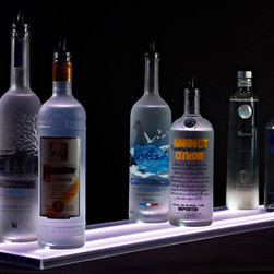 """Armana - 9"""" Wide Acrylic LED Illuminated Liquor Shelf and Display, 2 Foot - Update your home bar, restaurant, lounge, club, liquor store, or commercial bar, by adding Armana Double Wide Liquor Shelves. Our shelves are the thinnest on the market and include powerful RGB LEDs that are so bright, you may need the included wireless remote control to dim them. Our RGB LEDs are rated at 50,000+ lifetime giving you many, many years of unique LED illumination. Our Double Wide LED Shelves measure 9"""" wide by .75"""" thick, by the length of your choosing. Each shelf comes with two rows of LEDs providing light for two rows of bottles."""