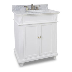 "Recessed Panel Vanity Set with Fluted Pilasters, Dual Drawer Extended (White) - This set consists of 30"" wide MDF vanity with tapered legs and preassembled marble top. Large cabinet provides for ample storage. Vanity comes preassembled with a 2cm white marble top with 4"" tall backsplash, 15"" x 12"" bowl, and cut for 8"" faucet spread."