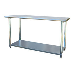 Buffalo Tools - Sportsman Series Stainless Steel Work Table 24 x 60 Inches - Stainless Steel Work Table 24 x 60 Inches by Sportsman Series The Sportsman Series Stainless Steel Work Table is the perfect addition to your kitchen, garage, or basement. A smooth 24 x 60 in. work surface is ideal for preparing and processing sauces, meats and vegetable, and is large enough to complete most arts and crafts projects. The 35 in. H is ideal for cooking and working without making your back ache. Adjustable galvanized metal shelf fits under the table and provides additional storage space for supplies. Curved edges help prevent injuries from accidental bumping and injury.  Attractive contemporary design fits into any decor. Max weight capacity 330 lbs. Constructed from 18 gauge 420 stainless steel for durability and easy cleaning Adjustable galvanized metal shelf for storing appliances and supplies Rounded edges for safety Measures 24 in. W x 60 in. L x 35 in. H Max weight capacity 330 lbs. Assembles in minutes No-mar plastic feet that adjust to create a level working surface