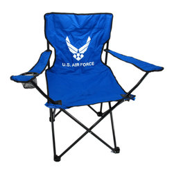 Zeckos - U.S. Air Force Folding Camping Chair Camp USAF - This super cool United States Air Force folding camp chair has a heavy duty steel frame and a heavy 600 denier nylon seat to give you years of use. The chair holds up to 275 pounds easily, and has hard plastic feet to keep you sturdy. The feet have holes in the bottoms, so you can keep it in place with tent stakes if you wish. The chair measures 32 1/2 inches tall, 32 inches wide and 19 inches deep. This folding camp chair is brand new, never used, and makes a great gift for any current or former airperson.